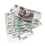 Cash the check and Russian rubles Stock Image