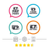 Cash and coin icons. Money machines or ATM. Royalty Free Stock Photo