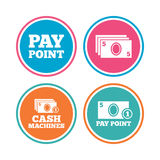 Cash and coin icons. Money machines or ATM. Royalty Free Stock Photos