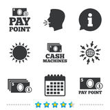 Cash and coin icons. Money machines or ATM. Stock Image