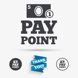 Cash and coin sign icon. Pay point symbol. For cash machines or ATM. Flat icons. Buttons with icons. Thank you ribbon. Vector Stock Photo