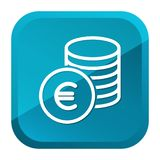 Cash Coins Euro Icon. Blue Button. Eps10 Vector stock illustration
