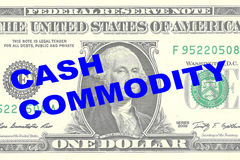 Cash Commodity concept. Render illustration of CASH COMMODITY title on One Dollar bill as a background Stock Photo