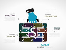 Cash. Concept infographic template with money case made out of puzzle pieces vector illustration