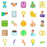 Cash consideration icons set, cartoon style. Cash consideration icons set. Cartoon set of 25 cash consideration vector icons for web isolated on white background Royalty Free Stock Photos