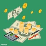 Cash, contant geld vlak 3d vectorconcept Vector Illustratie