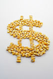 Cash Corn Crop II. A pile of corn kernels arranged into a dollar sign to reflect the high price of corn Stock Photography