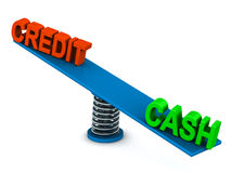 Cash or credit. Cash outweighs credit in struggle of balance whether to buy or spend using cash or credit, taking credit is always costlier for buyer and seller stock illustration