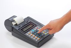 Cash on credit card machine Royalty Free Stock Photography