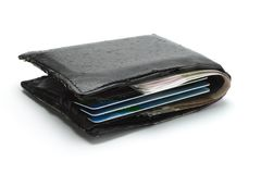 Cash and credit cards in old wallet Royalty Free Stock Photos