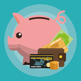 Cash credit cards and piggy bank money related icons Royalty Free Stock Photography