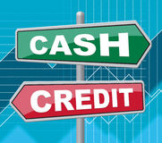 Cash Credit Signs Means Saving And Owing Stock Photography