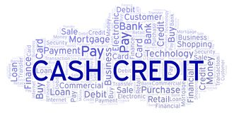 Cash Credit word cloud. Wordcloud made with text only stock illustration