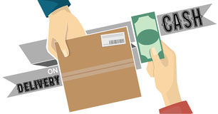 Cash on delivery,COD service vector on grey tag Stock Photos