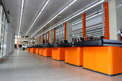 Cash desk in a new store. A series of cash registers, cash desk, in a store hypermarket opening soon in Rome (Italy royalty free stock photos