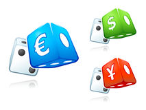 Cash dices. With lucky dollar, euro and yen isolated Royalty Free Stock Photos