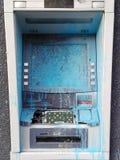Cash dispenser destroy by riot france Paris. Bank cash dispenser broken by act of vandalism stock photos