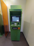 Cash dispenser green. Is ready for work Royalty Free Stock Photography