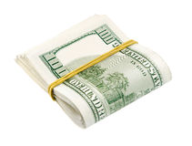 Cash dollars bank notes twisted half Royalty Free Stock Photography