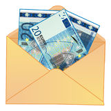 Cash and envelope. Blue cash of euro with numbers 20 stick out fron opened envelope Royalty Free Stock Images