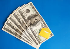 Cash and envelope Stock Photos