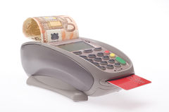 Cash euro credit card. Cash paying with credit card Royalty Free Stock Photography