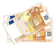 Cash of euro. A lot of paper cash of euro with numbers 50 Stock Photo
