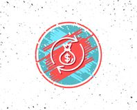 Cash exchange line icon. Dollar money bag. Royalty Free Stock Photography