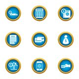 Cash exhaust icons set, flat style. Cash exhaust icons set. Flat set of 9 cash exhaust vector icons for web isolated on white background Royalty Free Stock Photo