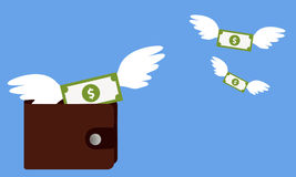 Cash expenditure. Wallet with money fly away. Business concept Stock Photos