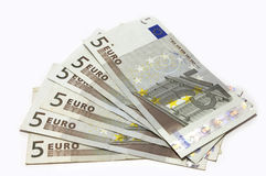 Cash fantail. 5 euro bank notes in fantail Stock Images