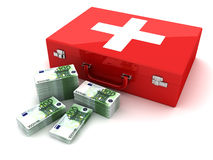 Cash and first aid. This is a 3D rendered picture royalty free illustration