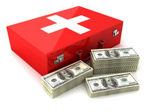 Cash and first aid. Dollar and first aid. 3D render Stock Photo
