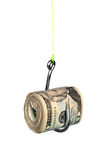 Cash on fishook Stock Photography
