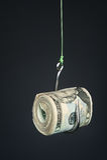 Cash on fishook Stock Photo