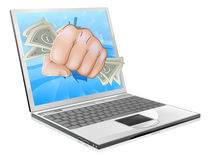 Cash Fist Laptop Concept Royalty Free Stock Photography