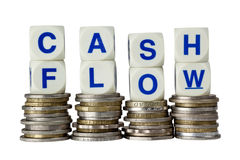 Cash Flow. Stacks of coins with the word CASH FLOW isolated on white background Stock Images
