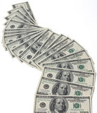Cash flow. Many us dollars on white background Stock Photo