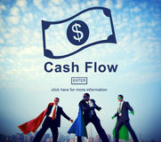 Cash Flow Business Money Financial Concept. Business super heroes with dollar money stock image