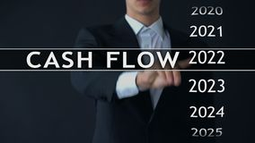 Cash flow for 2024, businessman selects financial report on virtual screen