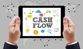 CASH FLOW. CONCEPT on the tablet pc screen by businessman hands, top view stock photos