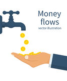 Cash flow concept. Vector illustration flat design. Isolated on white background. Open a water tap, gold coins fall. Catch money hand. Finance faucet Royalty Free Stock Image