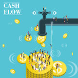 Cash flow. Flat 3d isometric design of cash flow Royalty Free Stock Photos