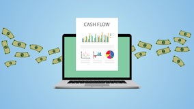 Cash flow illustration with laptop money and graph chart. Vector illustration Royalty Free Stock Photos