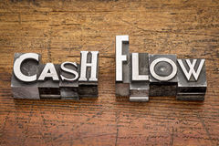 Cash flow in metal type Stock Images