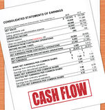 Cash Flow Rubber Stamp Text On White Paper And Oak Table. Cash Flow Statement Rubber Stamp Text On White Paper And Oak Table Royalty Free Stock Photos