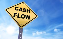 Cash flow sign. On blue sky background,3d rendered Royalty Free Stock Photo