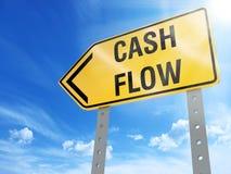 Cash flow sign. On blue sky background,3d rendered Stock Images