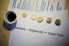 Cash flow statement chart printed on a white sheet of paper. Cash flow statement on a white sheet of paper during a business meeting stock image