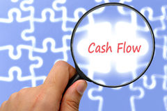 Cash flow word. Magnifier and puzzles. Royalty Free Stock Photos
